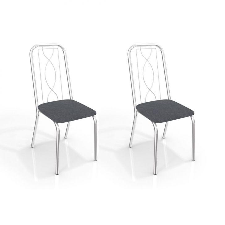 Conjunto com 2 Cadeiras Viena Corino Cinza