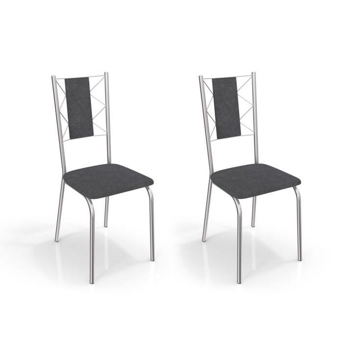 Conjunto de 2 Cadeiras Lisboa Cromada Cinza