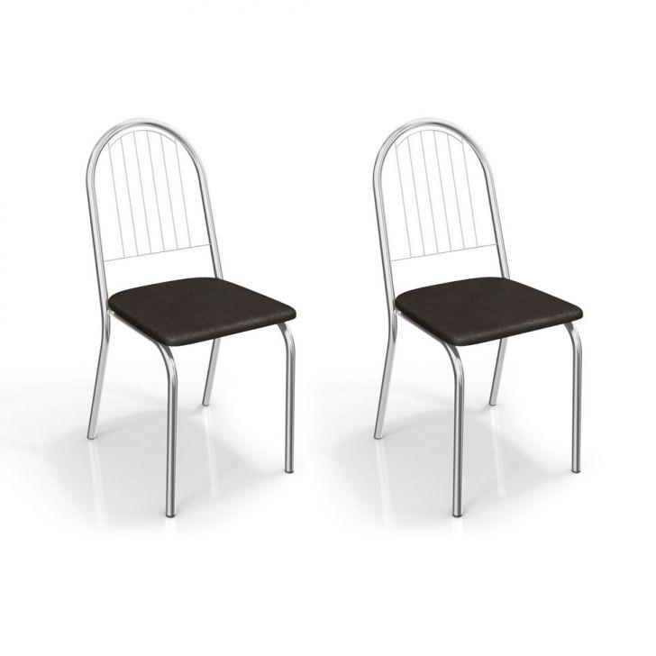 Conjunto de 2 Cadeiras Noruega Cromada Preto