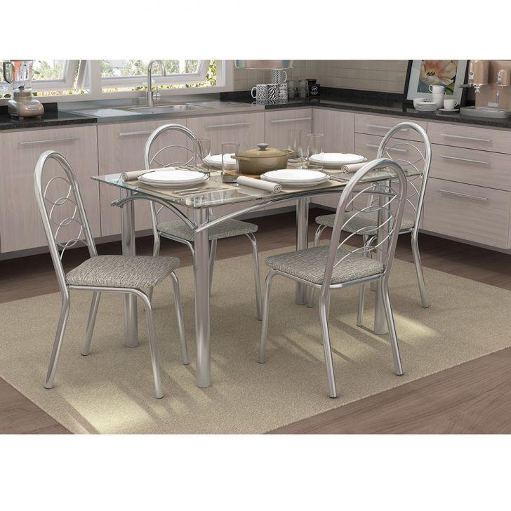 Conjunto de Mesa com 4 Cadeiras CMC305CR-22 Cromado Com Linho Marrom
