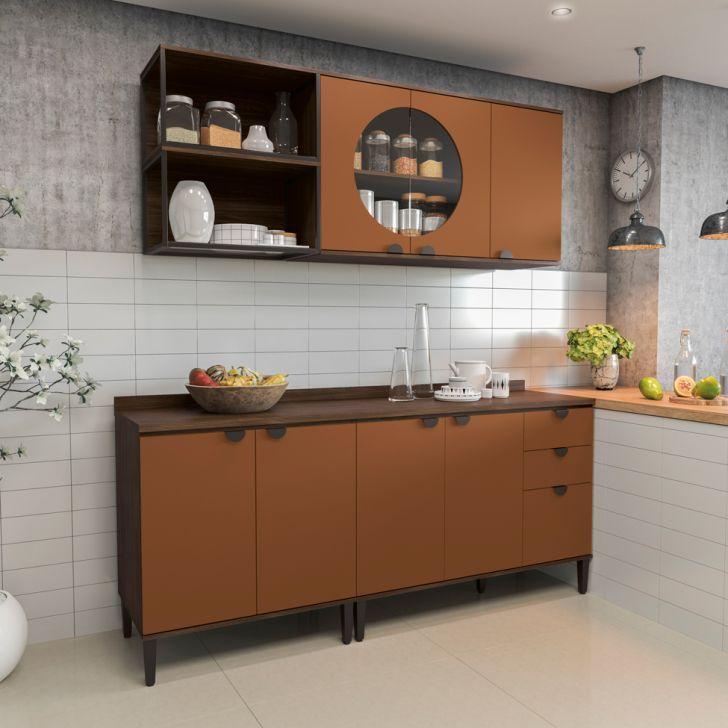 Cozinha Compacta Soul 7 PT 3 GV Jacarandá e Terracota