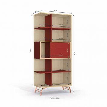 Cristaleira Krol Pop 2 PT Bege e Vermelho DESCONTO DE R$: 507,00 (40,56% OFF) - OFERTA MOBLY