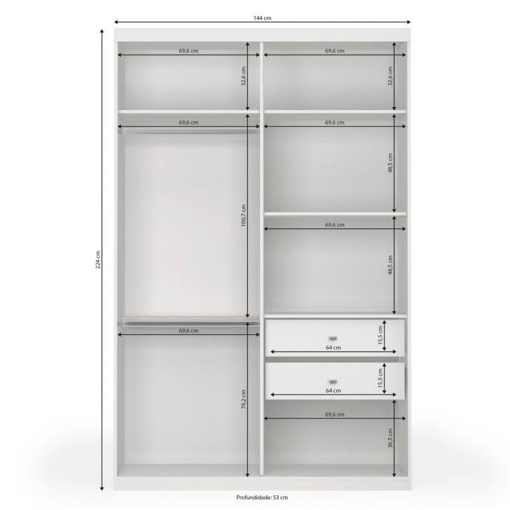 Interior Armario Kvikne Ikea ~ Guarda Roupa Solteiro com Espelho Polaris 2PT 2GV Branco