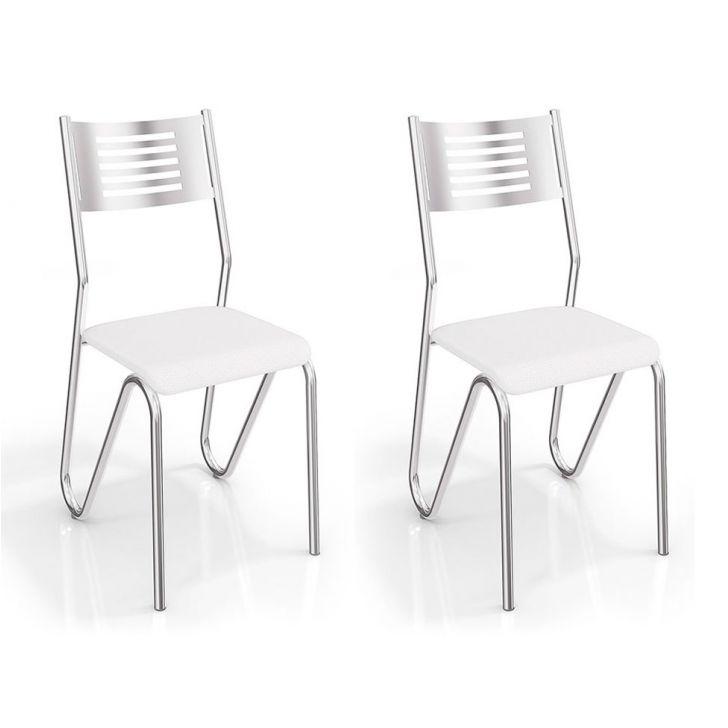 Kit 2 Cadeiras Nápolis Cromada Branco Kappesberg