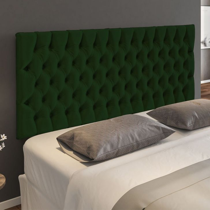 Cabeceira Cama Box Painel Casal Capitonê Amy Suede Verde Musgo 140 cm - Verde - 2 - thumbnail