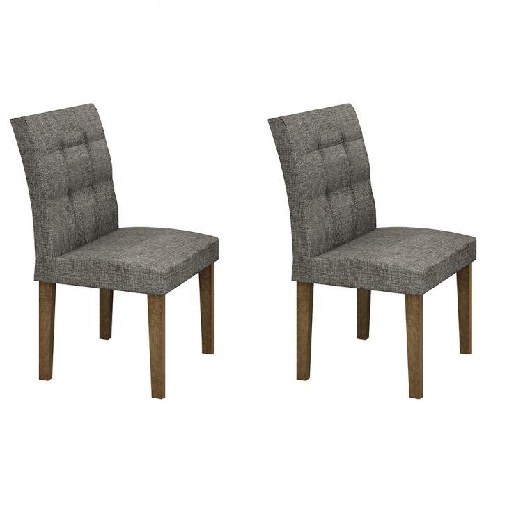 Conjunto com 2 Cadeiras Itália Linho Ypê e Cinza