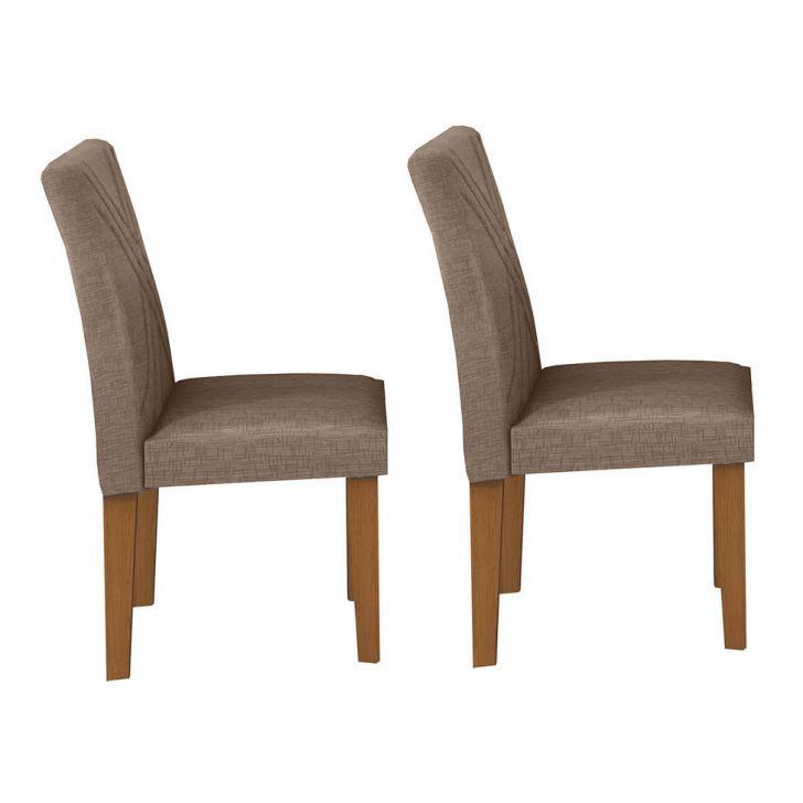 Conjunto com 2 Cadeiras de Jantar Gênova Veludo Imbuia Riscado Camurça