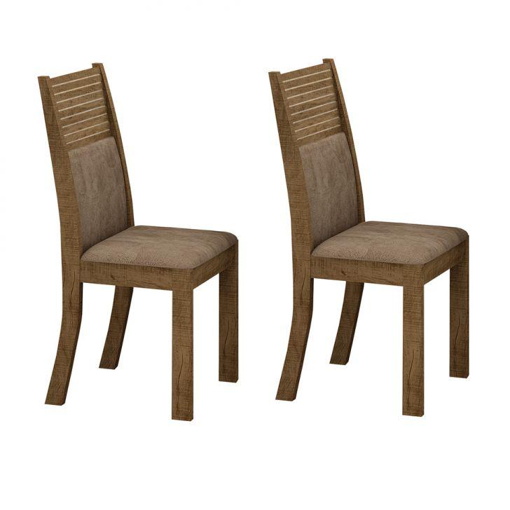 Conjunto com 2 Cadeiras de Jantar Havaí Veludo Ipê Animale Capuccino