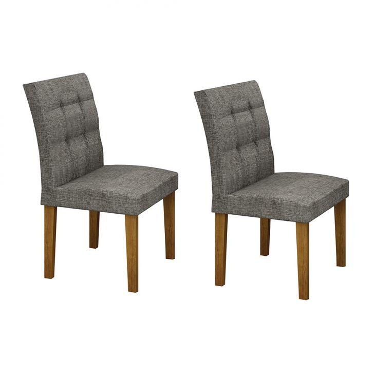 Conjunto com 2 Cadeiras de Jantar Itália Linho Imbuia Linho Cinza