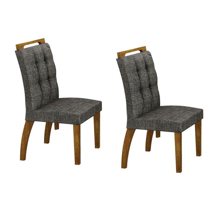Conjunto com 2 Cadeiras de Jantar Málaga Linho Canela Linho Cinza