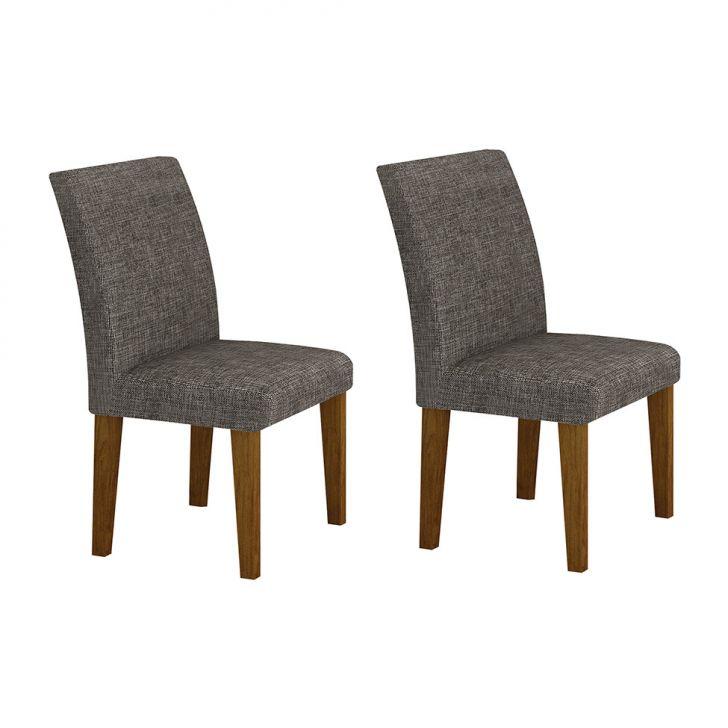Conjunto com 2 Cadeiras de Jantar Olímpia Linho Imbuia Mel Linho Cinza