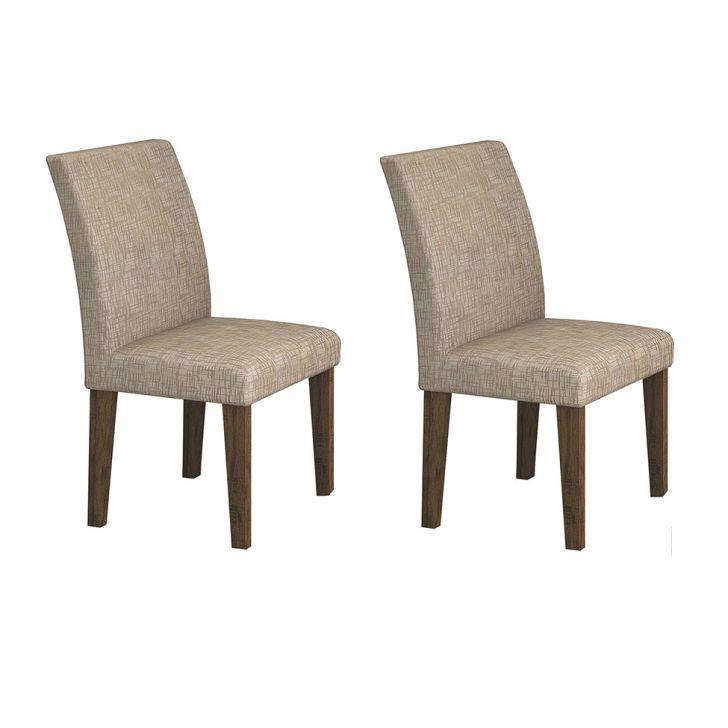 Conjunto com 2 Cadeiras de Jantar Olímpia Veludo Ipê Riscado Caramelo