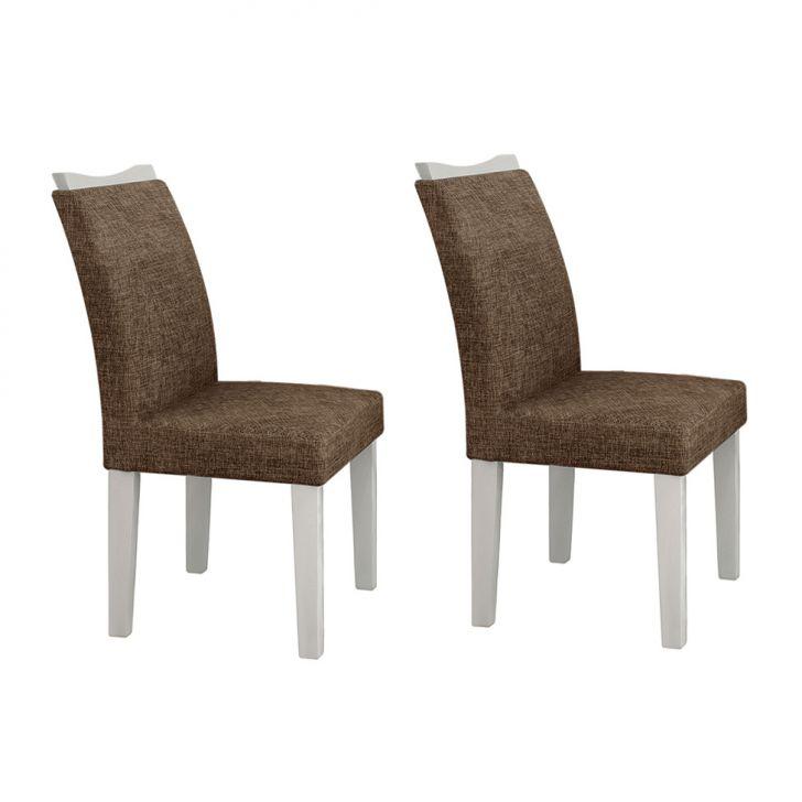 Conjunto com 2 Cadeiras de Jantar Pampulha Linho Branco Linho Marrom