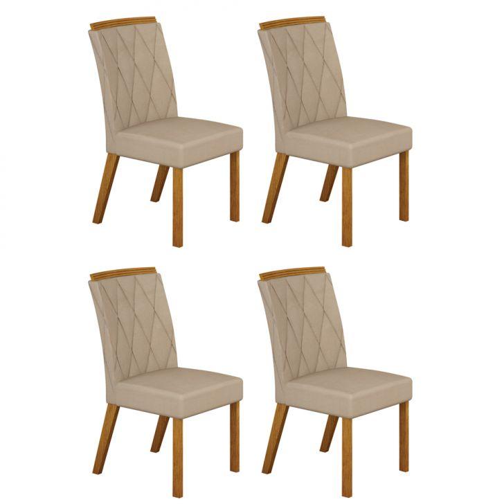 Conjunto com 4 Cadeiras Esmeralda Imbuia Mel e Veludo Palha