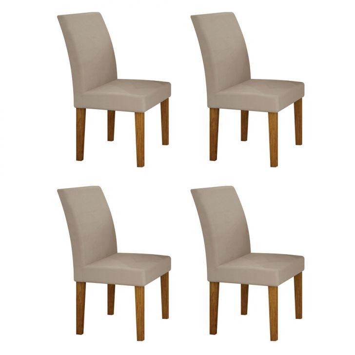 Conjunto com 4 Cadeiras Olímpia Imbuia Mel e Veludo Palha