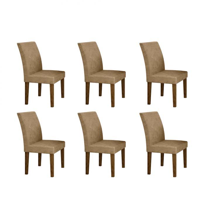 Conjunto com 6 Cadeiras Olímpia Ipê e Cinza