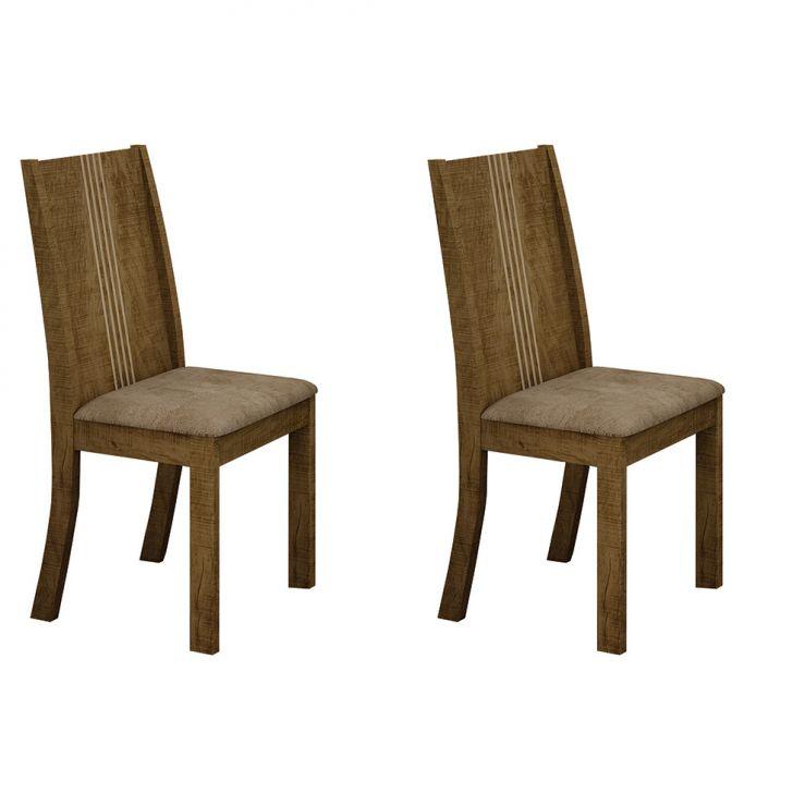 Conjunto de 2 Cadeiras Vitória Ypê e Capuccino