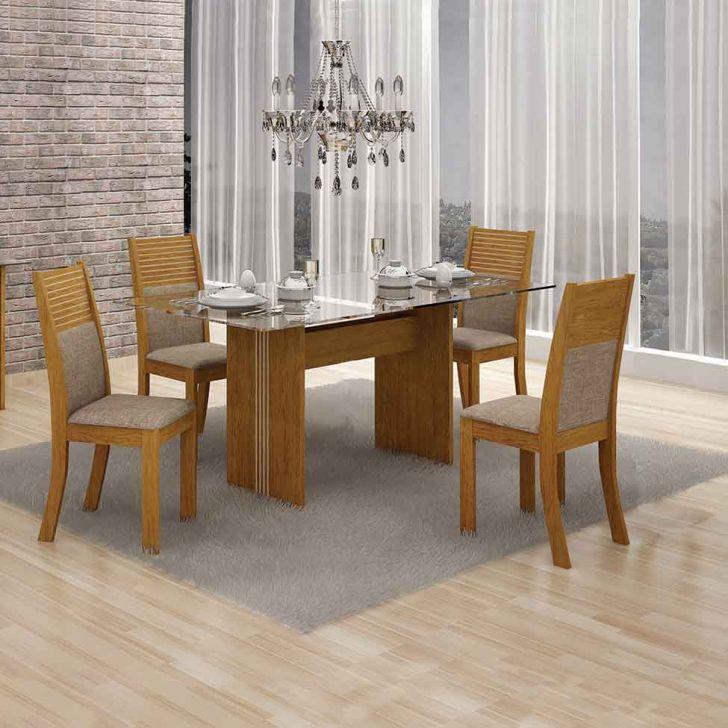 Conjunto de Mesa 120 cm com 4 Cadeiras Hawai I Linho Imbuia Mel e Bege