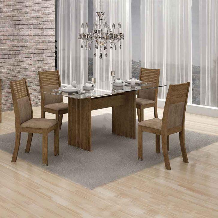 Conjunto de Mesa 120 cm com 4 Cadeiras Hawai I Suede Ypê e Capuccino