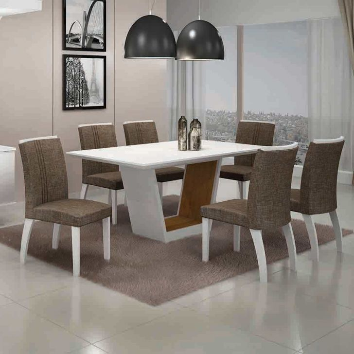 Conjunto de Mesa Alemanha I com 6 Cadeiras Branco e Marrom 180cm