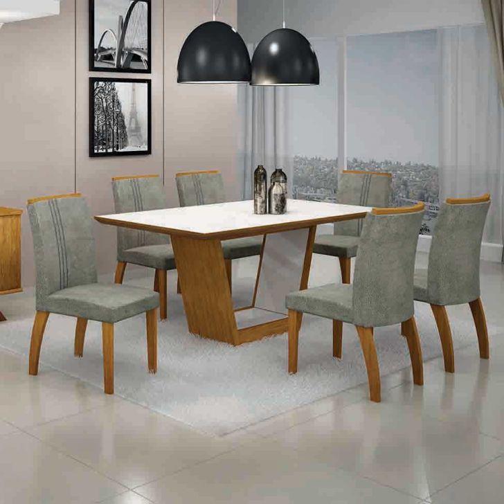 Conjunto de Mesa Alemanha II com 6 Cadeiras Imbuia Mel e Cinza 180cm