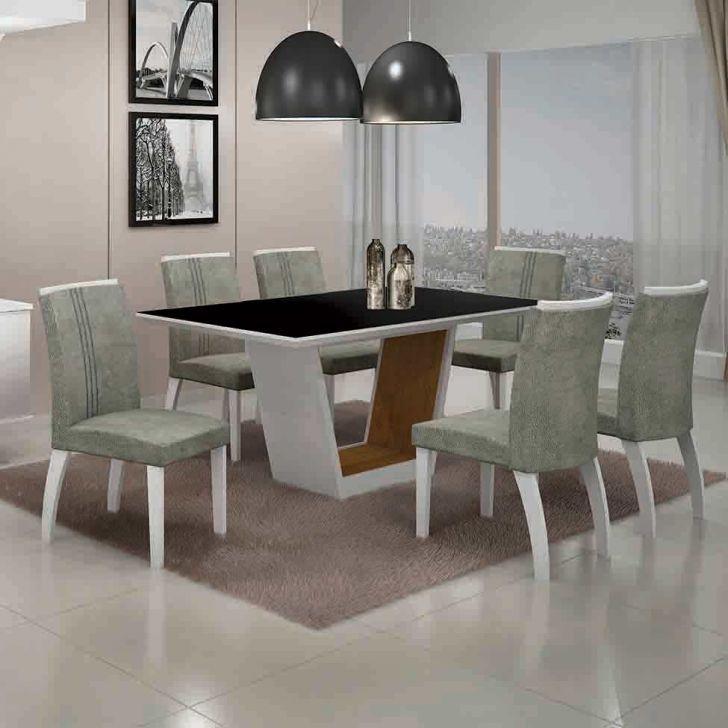 Conjunto de Mesa Alemanha III com 6 Cadeiras Branco e Cinza 180cm