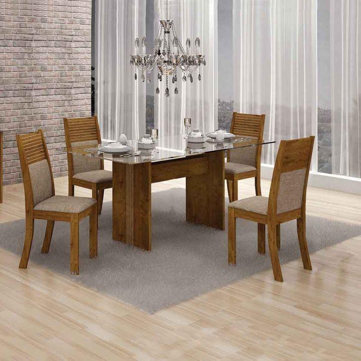 Conjunto de Mesa Hawai I com 4 cadeiras Canela e Bege 120cm