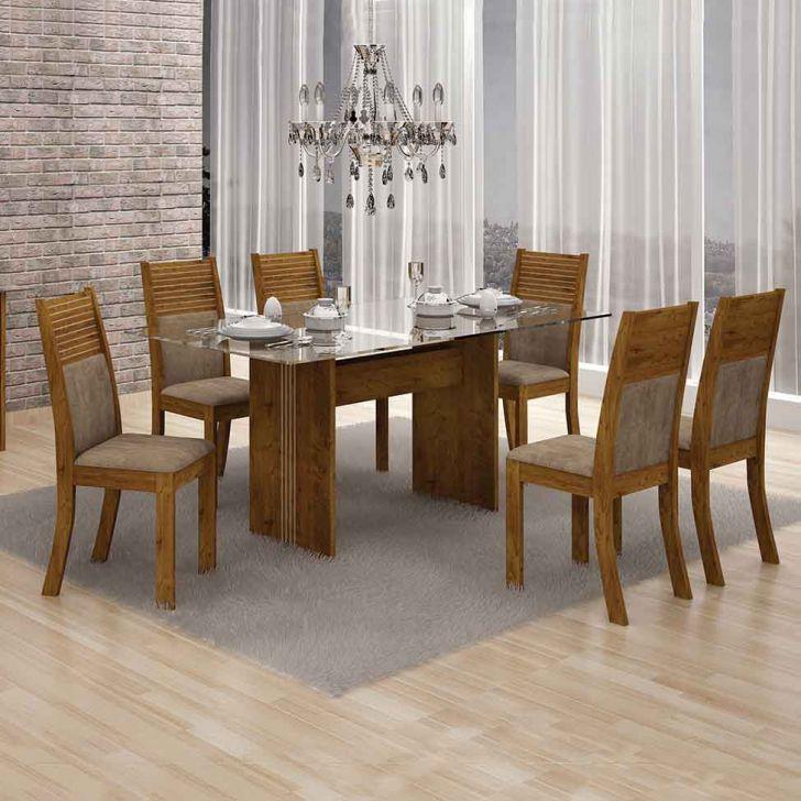 Conjunto de Mesa Hawai com 6 Cadeiras Canela e Capuccino 160cm