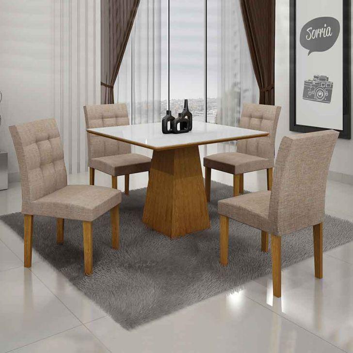 Conjunto de Mesa Itália I com 4 Cadeiras Imbuia Mel e Bege 90cm