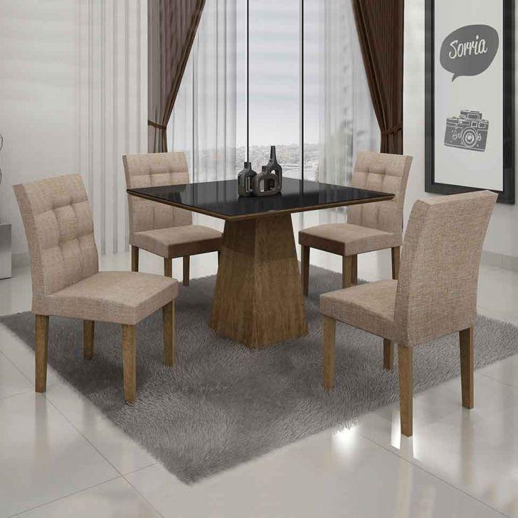 Conjunto de Mesa Itália II com 4 Cadeiras Ypê e Bege 90cm
