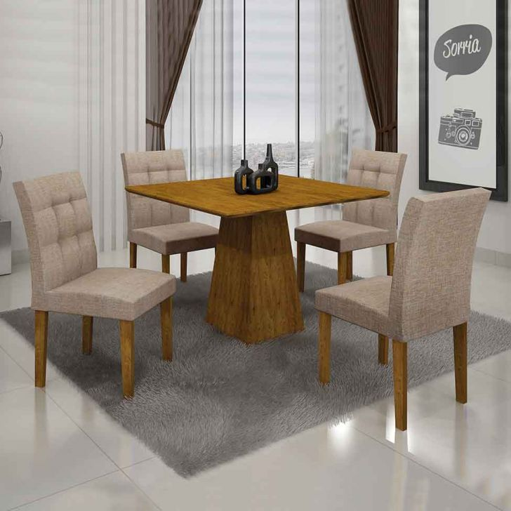Conjunto de Mesa Itália III com 4 Cadeiras Canela e Bege 90cm