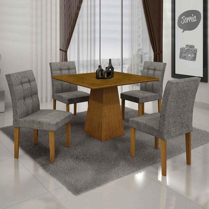 Conjunto de Mesa Itália III com 4 Cadeiras Imbuia Mel e Cinza 90cm