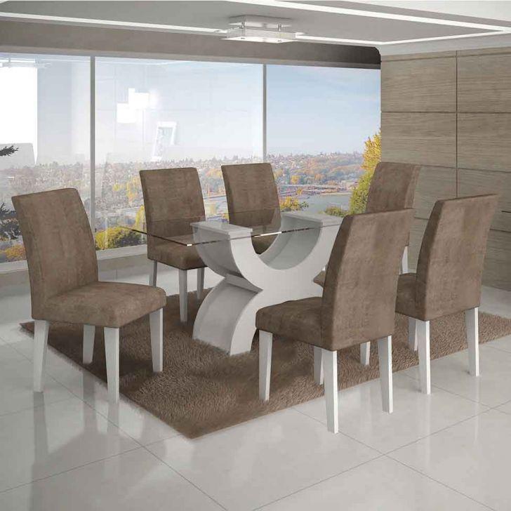Conjunto de Mesa Olimpia I com 6 Cadeiras Branco e Cappuccino  160cm