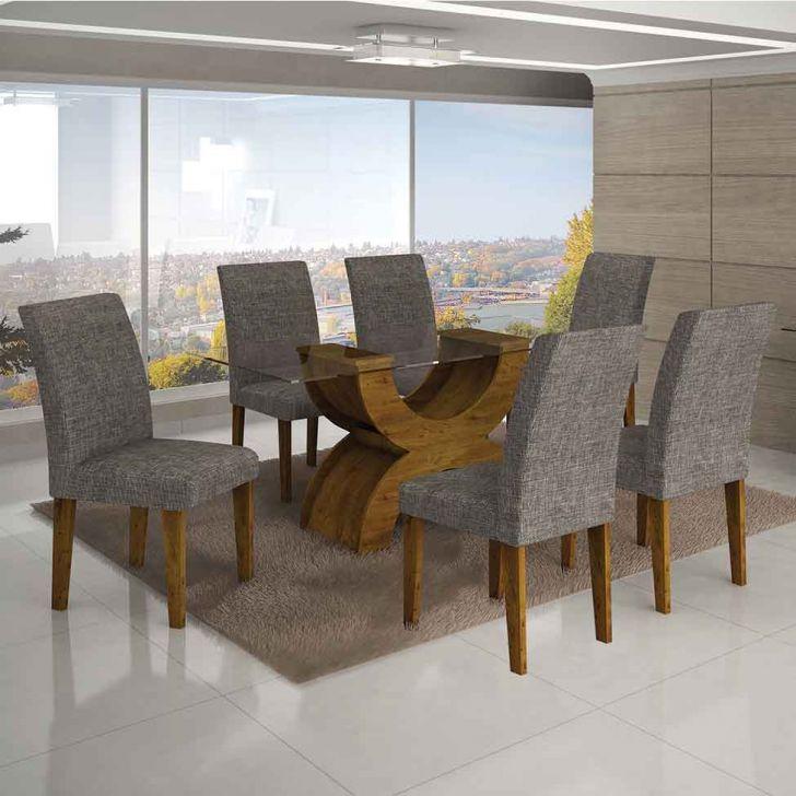 Conjunto de Mesa Olimpia I com 6 Cadeiras Canela e Cinza  160cm