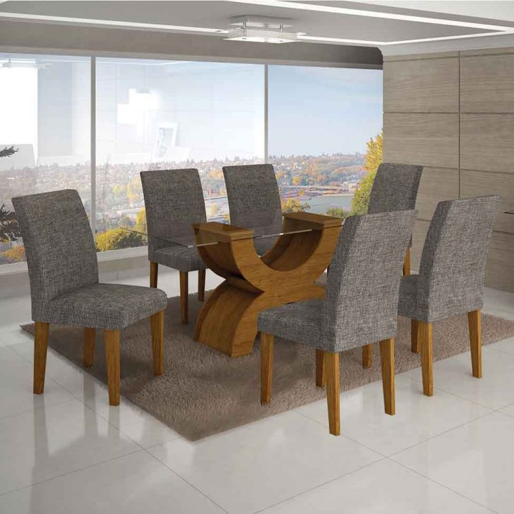 Conjunto de Mesa Olimpia II com 6 Cadeiras Imbuia Mel e Cinza  180cm