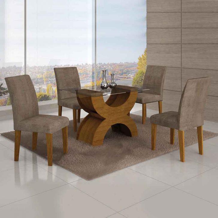 Conjunto de Mesa Olimpia com 4 Cadeiras Imbuia Mel e Cappuccino  120cm