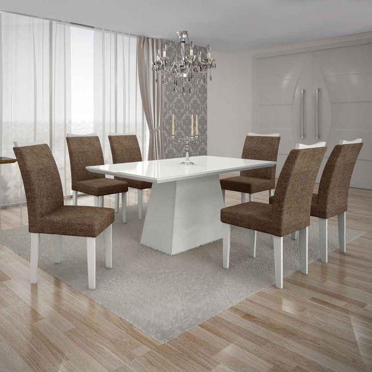 Conjunto de Mesa Pampulha I com 6 Cadeiras Branco e Marrom 180cm