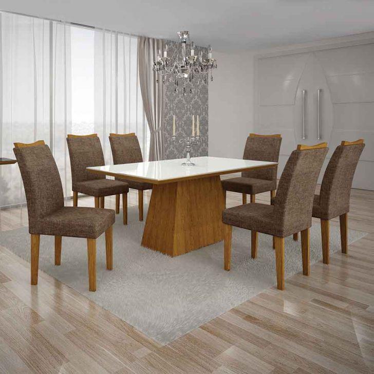 Conjunto de Mesa Pampulha I com 6 Cadeiras Imbuia Mel e Marrom 180cm