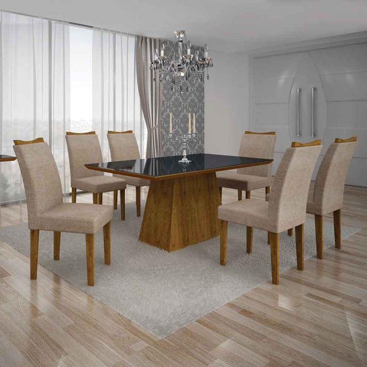 Conjunto de Mesa Pampulha IV com 6 Cadeiras Canela e Bege 180cm