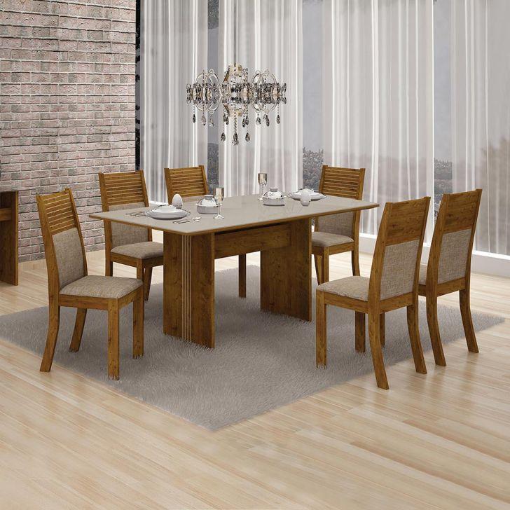 Conjunto de Mesa de Jantar Florença com 6 Cadeiras Havai Linho Canela Off White