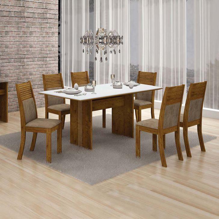 Conjunto de Mesa de Jantar Florença com 6 Cadeiras Havai Veludo Canela Branco