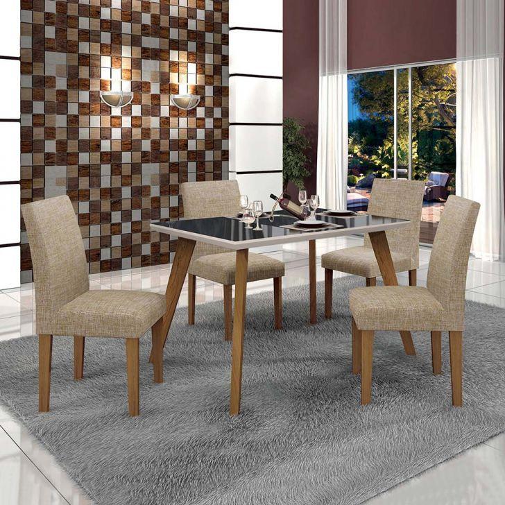Conjunto de Mesa de Jantar Lavinia com 4 Cadeiras Olimpia III Linho Imbuia Mel...