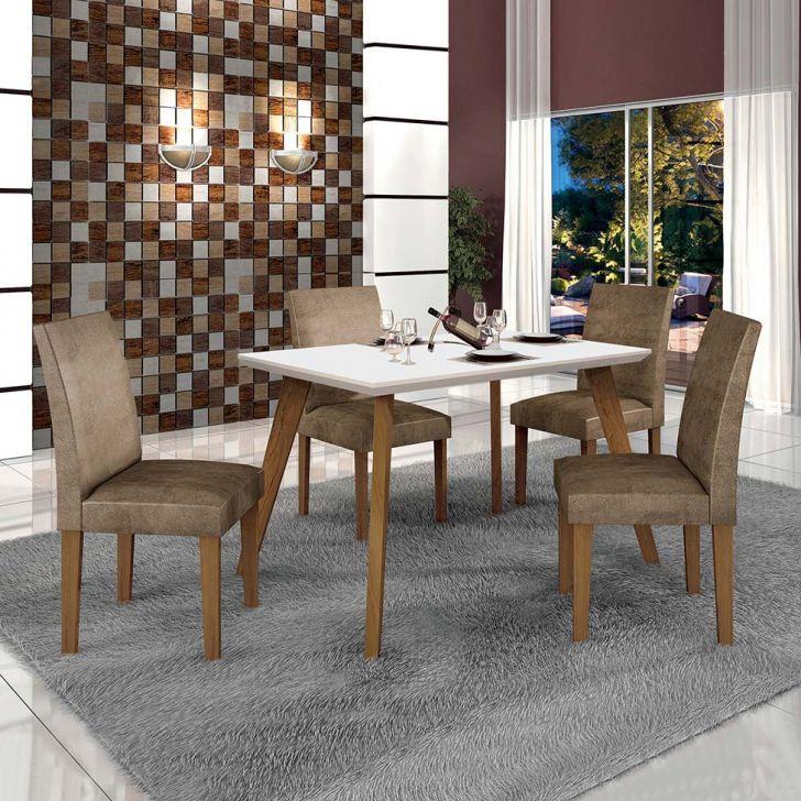 Conjunto de Mesa de Jantar Lavinia com 4 Cadeiras Olimpia III Veludo Imbuia Mel...