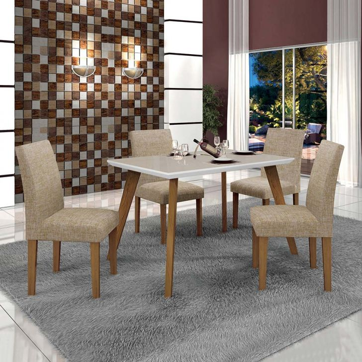 Conjunto de Mesa de Jantar Lavinia com 4 Cadeiras Olimpia Linho Imbuia Mel Off...