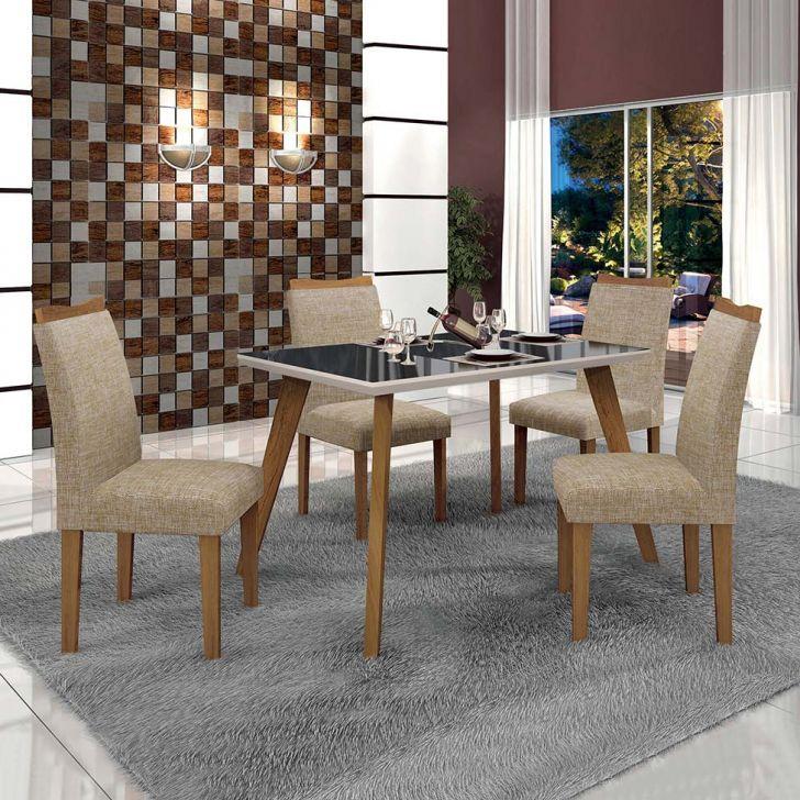 Conjunto de Mesa de Jantar Lavinia com 4 Cadeiras Pampulha II Linho Imbuia Mel...