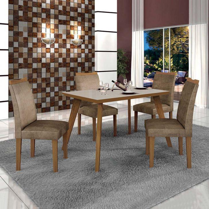 Conjunto de Mesa de Jantar Lavinia com 4 Cadeiras Pampulha II Veludo Imbuia Mel...
