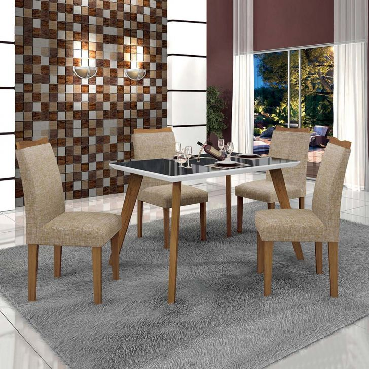 Conjunto de Mesa de Jantar Lavinia com 4 Cadeiras Pampulha Linho Imbuia Mel...