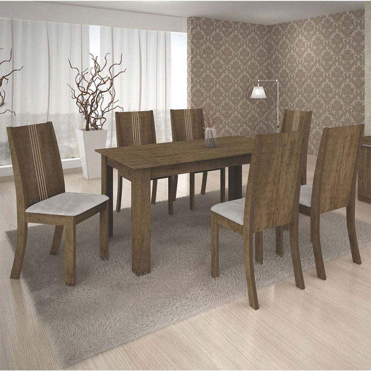 Conjunto de Mesa de Jantar Moscou New com 6 Cadeiras Vitória Veludo Ipê e Palha
