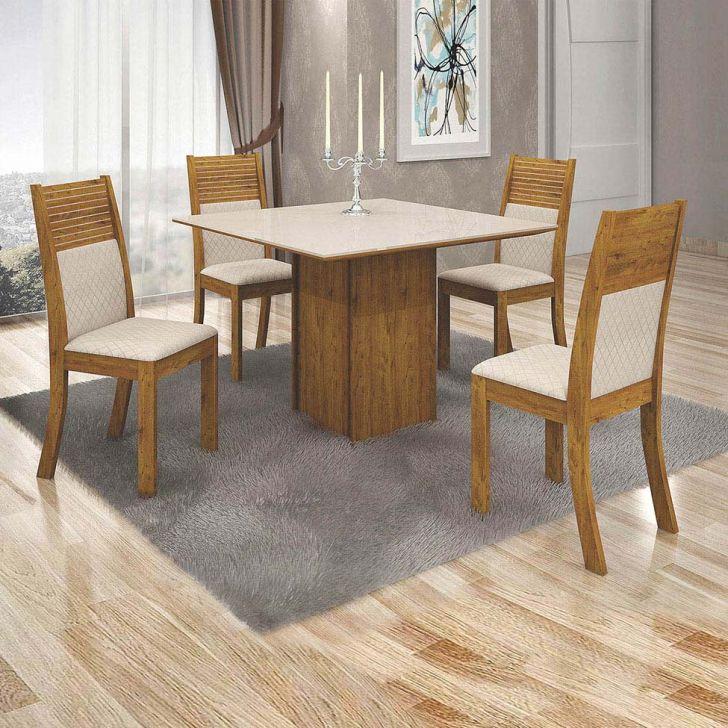 Conjunto de Mesa de Jantar Napoli com 4 Cadeiras Havaí Jacquard Canela e Off...
