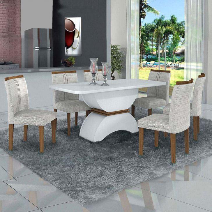 Conjunto de Mesa de Jantar com 6 Cadeiras Atenas Linho Branco e Imbuia